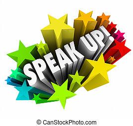 Speak Up Rally Protest Injustice 3d Words Stars - Speak Up...