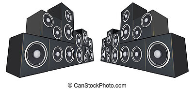 Speaker. A set of a stereo speaker in abstract perspective