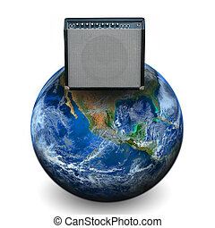 speaker amplifier on the earth. Elements of this image furnished by NASA