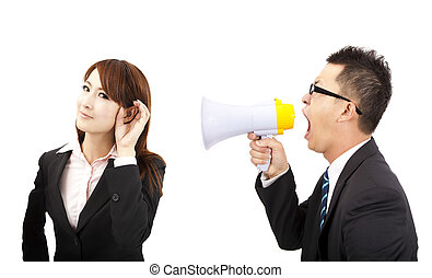 speaker and listen concept. business man and woman Communications problems