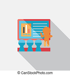 Speaker at business workshop flat icon with long shadow, ...