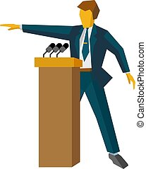 Speaker at podium. Man standing at rostrum with microphones
