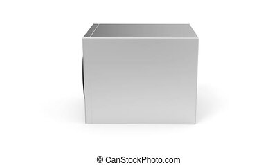 Audio speaker rotates on white background