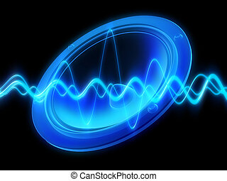speaker, audiowave - 3d rendered illustration of a blue ...
