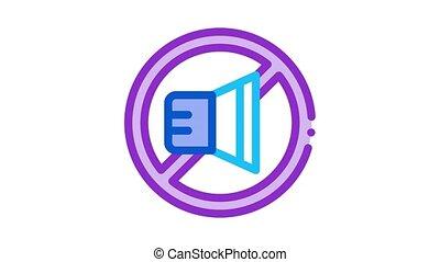 speaker ban Icon Animation. color speaker ban animated icon on white background