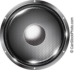 Speaker - Black audio speaker with grid on white background