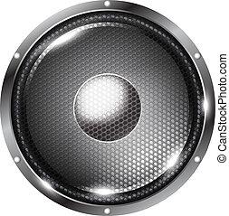 Speaker - Black audio speaker with grid on white background