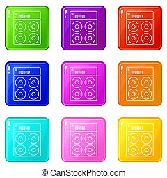 Speaker box icons set 9 color collection
