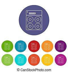 Speaker box icons set color