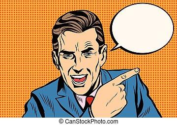 speaker businessman pointing finger pop art retro