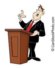 Speaker - Cartoon speaker in business suit with rostrum.