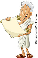 Speaker - Ancient greek reads the scroll, vector...