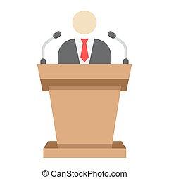 Speaker flat icon, business and tribune