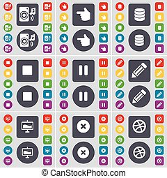 Speaker, Hand, Database, Media stop, Pause, Pencil, Graph, Stop, Ball icon symbol. A large set of flat, colored buttons for your design. Vector
