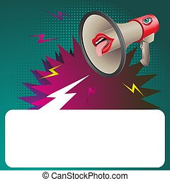 Speaker horn with eyes and lips and space for text on isolated background. Vector image.