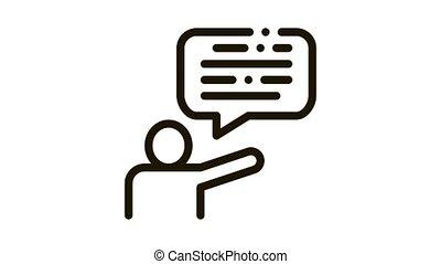 Speaker Human Talent animated black icon on white background