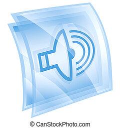 speaker icon blue, isolated on white background.