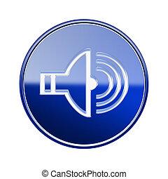 Speaker icon glossy blue, isolated on white background