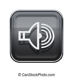 Speaker icon glossy grey, isolated on white background