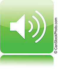 Speaker icon on green