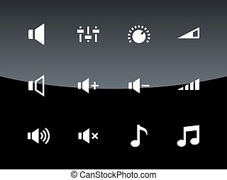 Speaker icons on black background. Volume control.