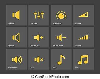 Speaker icons. Volume control.