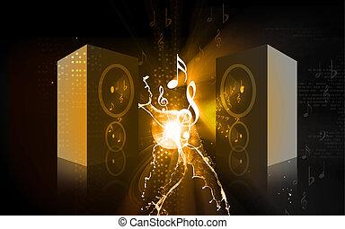 Speaker - Illustration of a speaker with music notes