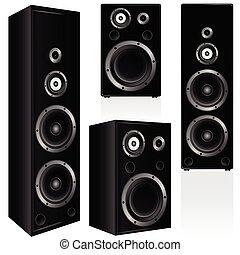 speaker in black color vector illustration on white...