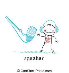 speaker in headphones speaks into a microphone