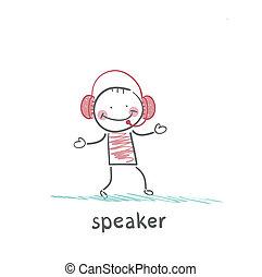 speaker in the headphones