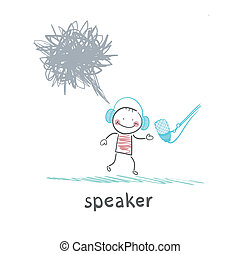 speaker is talking into a microphone and thinks bad thoughts