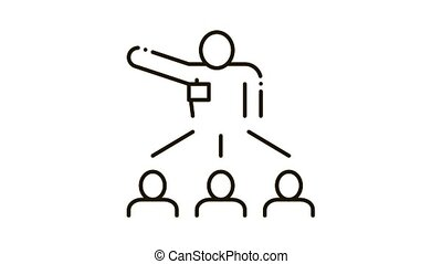 Speaker Leader for People Icon Animation. black Speaker Leader for People animated icon on white background