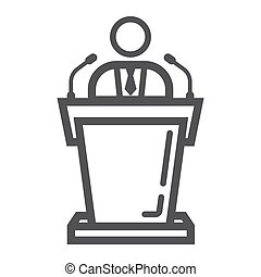 Speaker line icon, business and tribune,