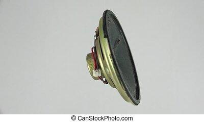 Speaker, loudspeaker. Shot in 4K (ultra-high definition...
