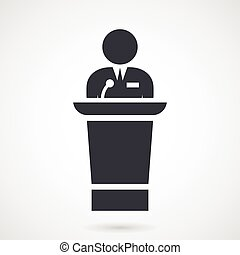 Speaker makes speech from tribune