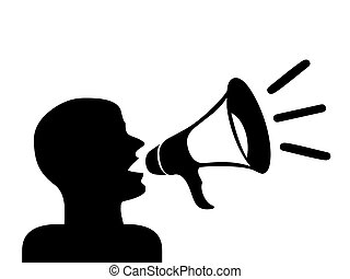 Man with megaphone silhouette, speaker.