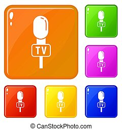 Speaker microphone icons set color