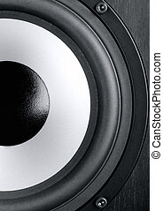 Speaker - Modern powerful loudspeaker is close up...