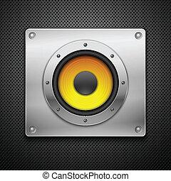 Speaker on a metallic background.