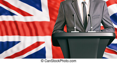 Speaker on United Kingdom flag background. 3d illustration