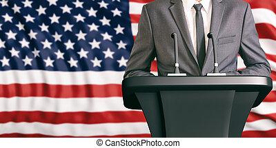 Speaker on United States of America flag background. 3d illustration