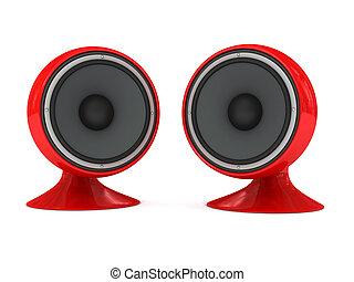 Speaker over white background