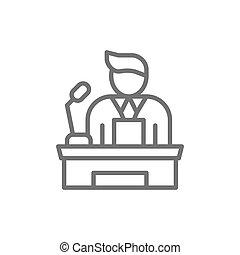 Speaker, people on podium speech, conference presentation speech line icon.