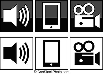 speaker phone video icons