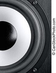 Speaker - Modern powerful loudspeaker is close up...
