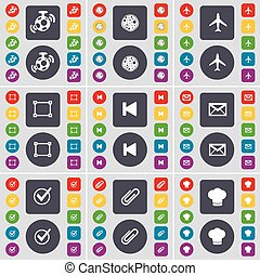 Speaker, Pizza, Airplane, Frame, Media skip, Message, Tick, Clip, Cooking hat icon symbol. A large set of flat, colored buttons for your design. Vector