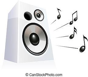 Speaker playing music, vector illustration