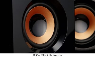 Speaker pumps with bass. Closeup