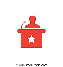 Speaker Red Icon On White Background. Red Flat Style Vector Illustration.