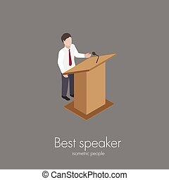Speaker saying speech